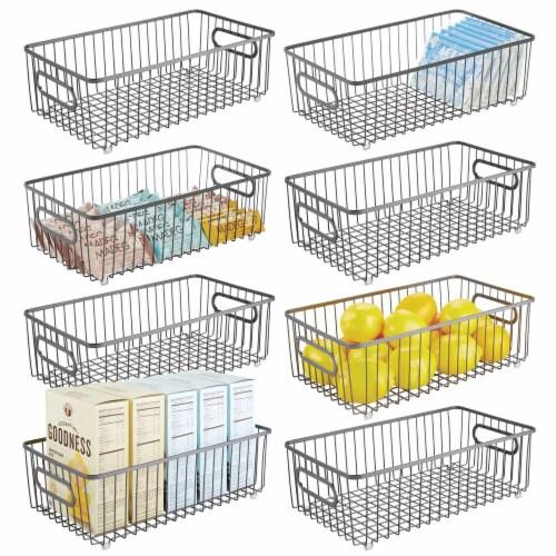 mDesign Metal Kitchen Pantry Food Storage Basket Bin, 8 Pack Perspective: back
