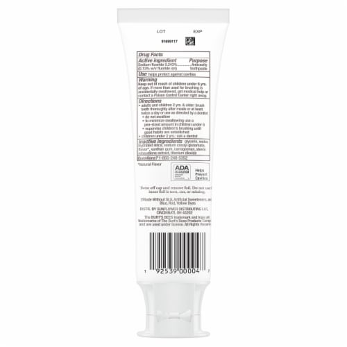 Burt's Bees for Kids Fruit Fusion Flavor Fluoride Natural Toothpaste Perspective: back
