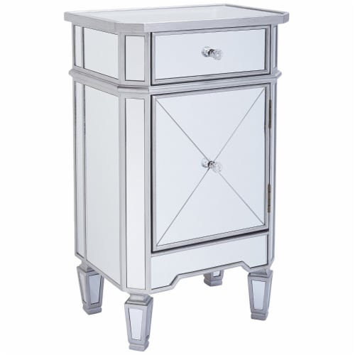 1 Door Storage Cabinet with 1 Drawer and Mirror Inserts, Gray and Silver ,Saltoro Sherpi Perspective: back