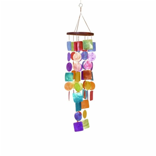 Benzara Wooden Round Top Ring Handle Multicolor Wind Chime Perspective: back