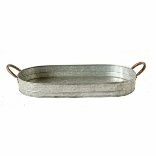 Galvanized Oblong Metal Tray with Ear Handles, Gray ,Saltoro Sherpi Perspective: back