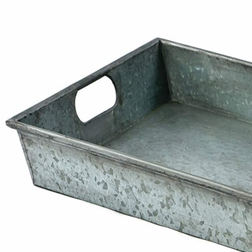 Square Galvanized Metal Tray With Handle, Gray ,Saltoro Sherpi Perspective: back