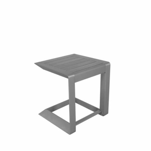 Sleekly Cultivated Contemporary Aluminum Side Table in Silver Perspective: back