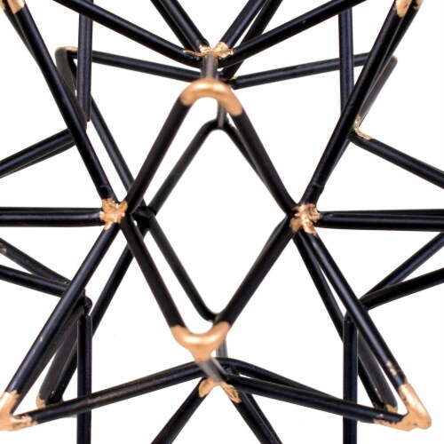 Benzara Intersecting Iron Wire Star Decor with Accented Joints - Black/Gold Perspective: back