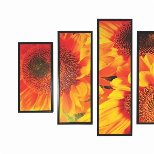 Saltoro Sherpi 5 Piece Wooden Wall Decor with Sun Flower Imprint, Yellow and Black Perspective: back