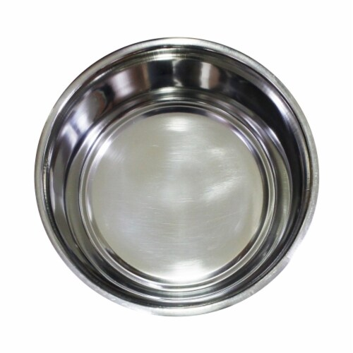 Saltoro Sherpi Stainless Steel Pet Bowl with Anti Skid Rubber Base and Dog Design, Gray and Perspective: back