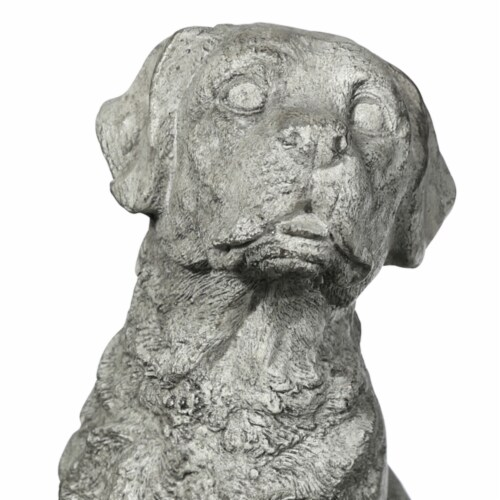 Saltoro Sherpi Border Terrier Dog Fiberstone Figurine in Sitting Position, Distressed Gray Perspective: back