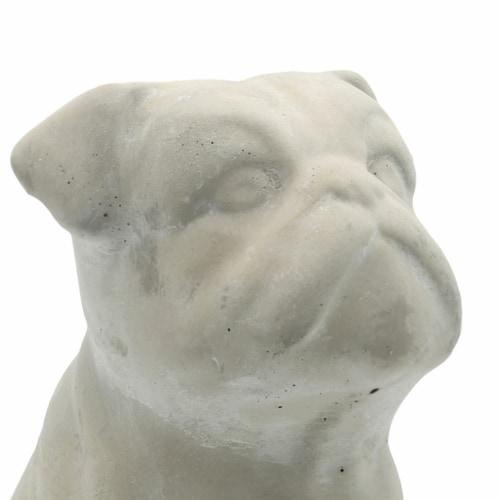 Saltoro Sherpi Cement Bulldog Sitting Figurine Looking Straight, Weathered Gray Perspective: back