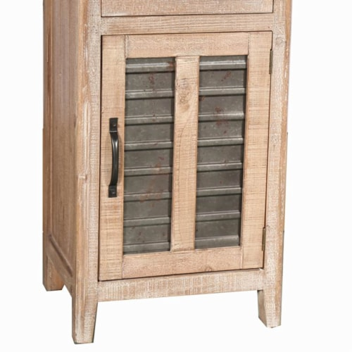 Farmhouse Storage Accent Cabinet with Drawer and Metal Insert Door, Large, Brown ,Saltoro Perspective: back