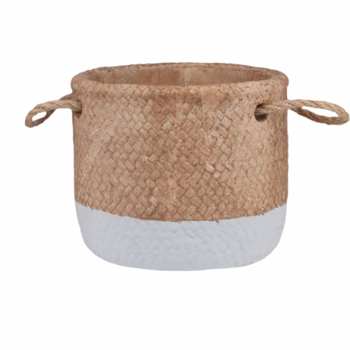 Saltoro Sherpi Round Cement Basket with Rope Handles, Small, Set of 2, Gray and Brown Perspective: back