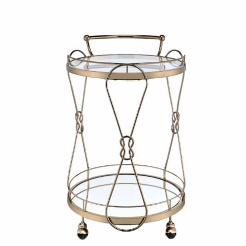 Saltoro Sherpi Serving Cart with 2 Glass Shelves and Caster Support, Gold and Clear Perspective: back