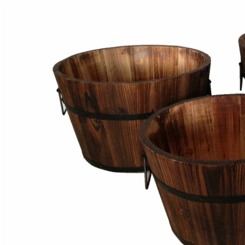 Saltoro Sherpi Round Wooden Planters with Narrow Bottom and Handles, Set of 3, Brown Perspective: back
