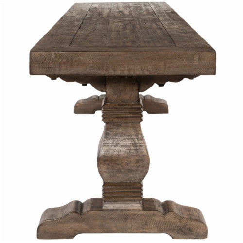 Saltoro Sherpi 66 Inch Plank Top Wooden Bench with Pedestal Base, Brown Perspective: back
