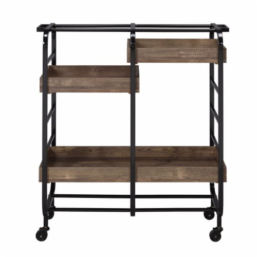 Saltoro Sherpi Metal Frame Serving Cart with 3 Open Storage and Casters, Brown and Black Perspective: back