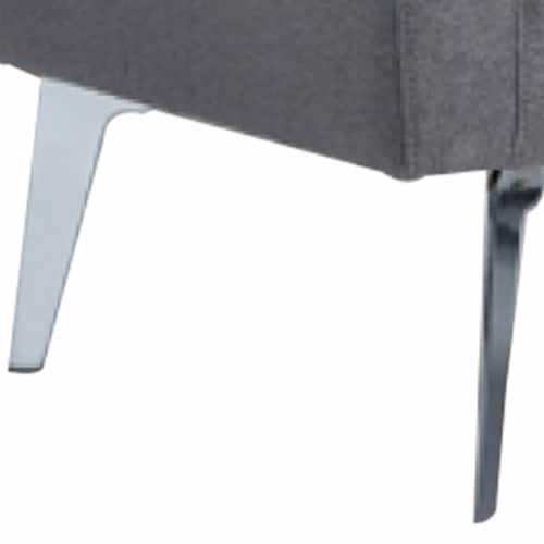 Saltoro Sherpi Fabric Lounge Chair with Sloped Arm and Metal Legs, Gray Perspective: back