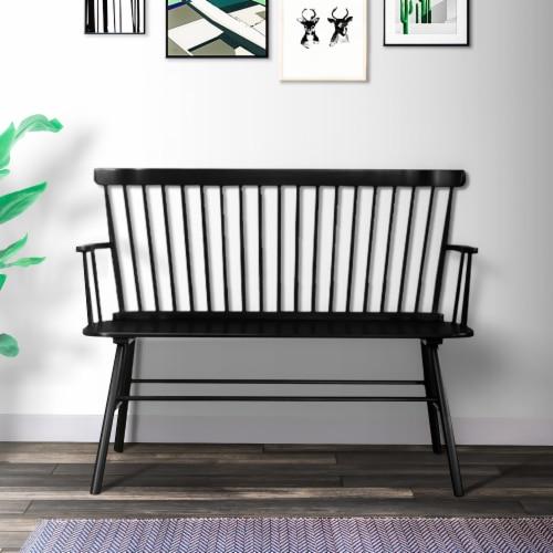 Benjara 19  Transitional Solid Wood Curved Design Spindle Back Bench in Black Perspective: back
