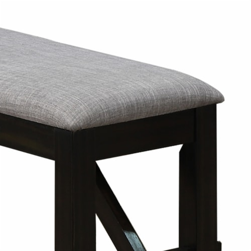 Saltoro Sherpi Dual Tone Fabric Upholstered Bench with Block Legs, Black and Light Gray Perspective: back