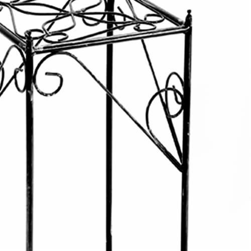 Saltoro Sherpi Lattice Cut Square Top Plant Stand with Tubular Legs, Large, Black Perspective: back