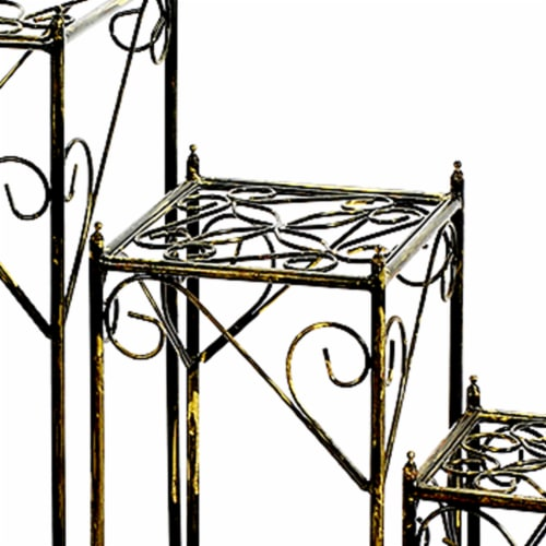 Saltoro Sherpi Lattice Cut Square Top Plant Stand with Tubular Legs, Set of 3, Black Perspective: back