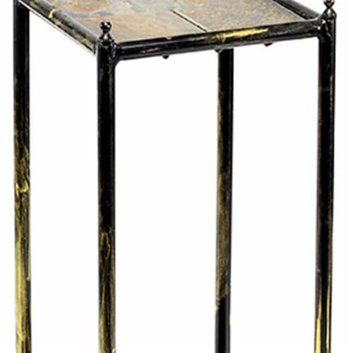 Saltoro Sherpi 2 Tier Square Stone Top Plant Stand with Metal Frame, Small, Black and Gray Perspective: back