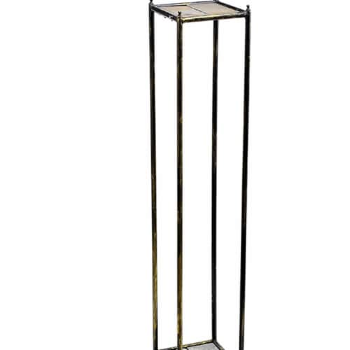 Saltoro Sherpi 2 Tier Square Stone Top Plant Stand with Metal Frame, Large, Black and Gray Perspective: back