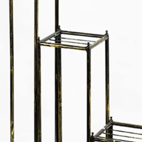 Saltoro Sherpi 2 Tier Square Slatted Top Plant Stand, Set of 3, Black and Gold Perspective: back