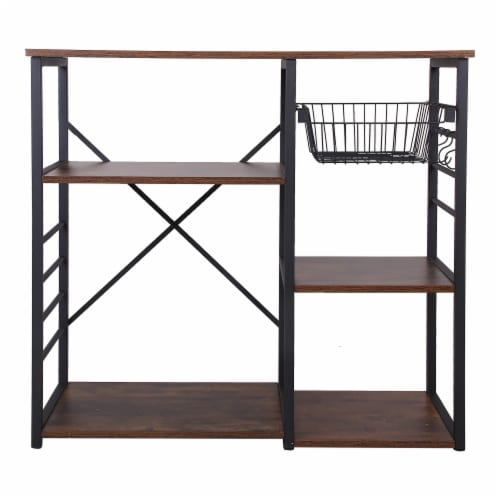 Saltoro Sherpi Wood and Metal Bakers Rack with 4 Shelves and Wire Basket, Brown and Black Perspective: back