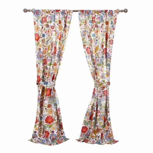 Saltoro Sherpi 4 Piece Polyester Window Panel Set with Floral Print, Large, Multicolor Perspective: back