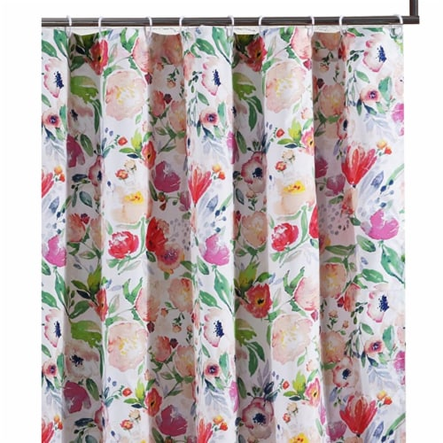 Saltoro Sherpi 72 x 72 Inches Shower Curtain with Floral Print, Multicolor Perspective: back