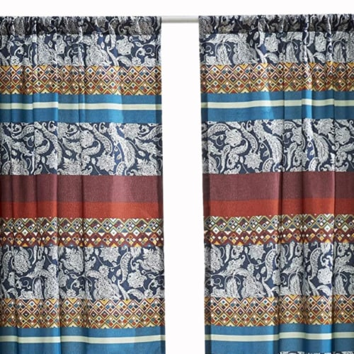 Saltoro Sherpi 4 Piece Polyester Window Panel Set with Paisley and Mosaic Print,Multicolor Perspective: back
