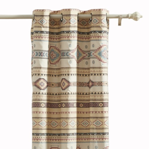 Saltoro Sherpi Polyester Panel Pair with Kilim Pattern and 2 Tie Backs, Multicolor Perspective: back