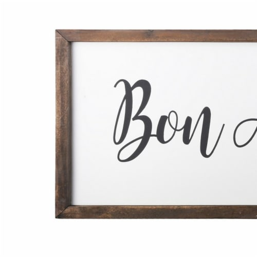 Saltoro Sherpi Wooden Wall Art with Bon Appetit Typography, Set of 2, Brown and White Perspective: back