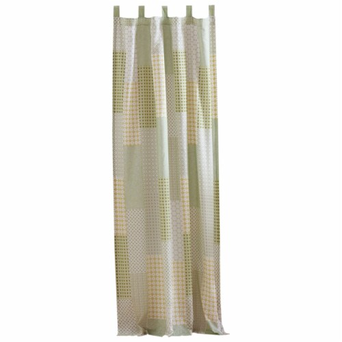 Saltoro Sherpi Fabric Panel Curtains with Geometric Pattern Motifs, Set of 4, Green Perspective: back