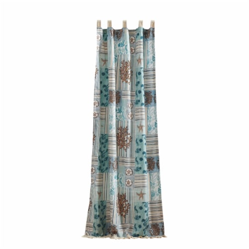 Saltoro Sherpi Sea Life Print Curtain Panel with Tie Backs, Set of 4, Blue and Brown Perspective: back