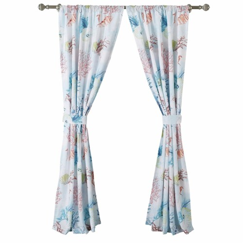 Saltoro Sherpi Polyester Panel Pair with Coral Prints and 2 Tie Backs, Multicolor Perspective: back