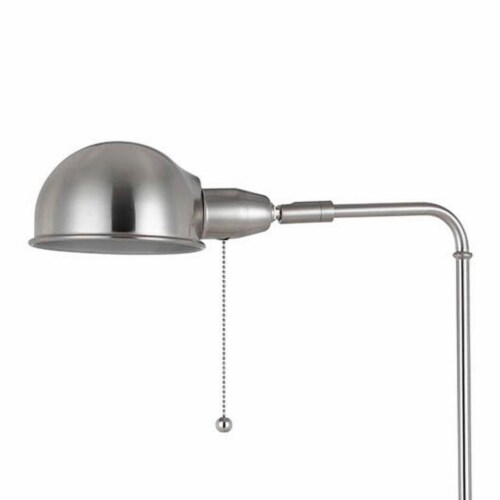 Adjustable Height Metal Pharmacy Lamp with Pull Chain Switch in Silver Perspective: back