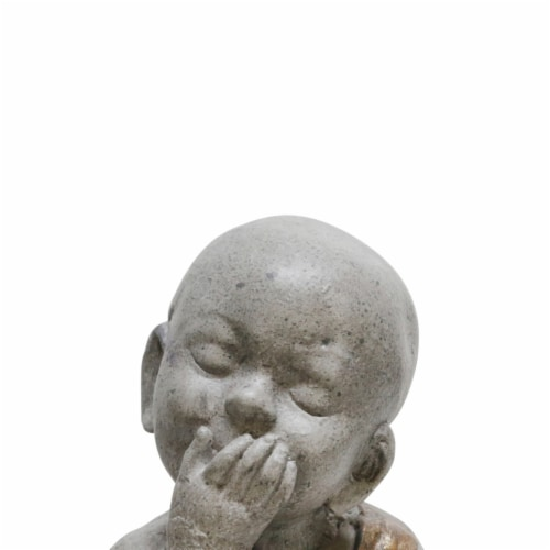 Saltoro Sherpi Polyresin Baby Monk Figurine with Covered Mouth, Weathered Gray Perspective: back