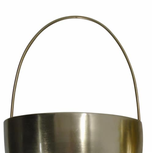 Saltoro Sherpi Oval Shape Metal Wall Planter with Attached Hanger, Set of 2, Gold Perspective: back