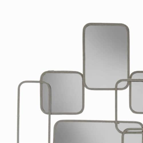 Saltoro Sherpi Rectangular Shaped Metal Mirrored Wall Decor with Curved Edges, Silver Perspective: back