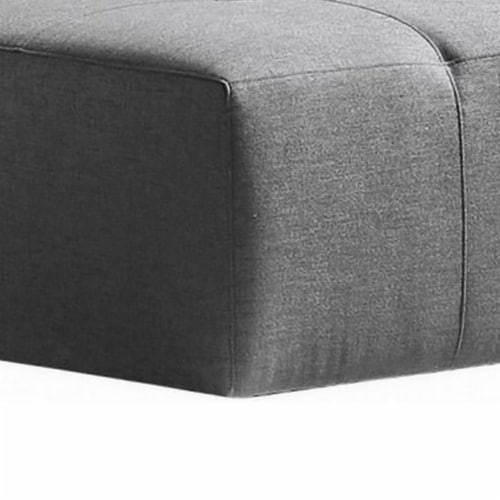 Saltoro Sherpi Fabric Upholstered Rectangular Ottoman with Button Tufting, Large, Gray Perspective: back