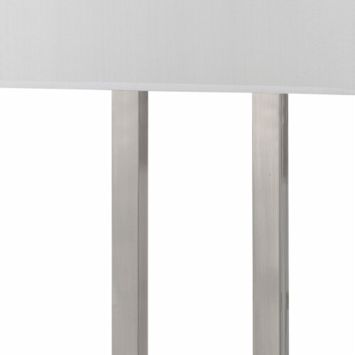 60W x 2 Desk Lamp with Rectangular Shade and Power Strip in Silver and White Perspective: back