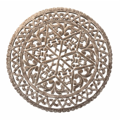 30 Inch Round Wooden Carved Wall Art with Intricate Cutouts, Distressed White ,Saltoro Sherpi Perspective: back
