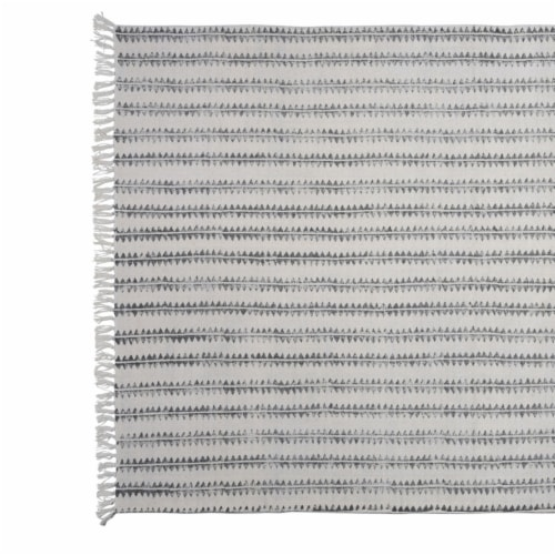 Saltoro Sherpi 4 X 6 Feet Fabric Rug with Fringes and Sawtooth Stripes, Gray and White Perspective: back