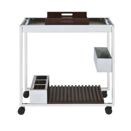 Saltoro Sherpi Metal and Wood Serving Cart with Tray and Floating Shelf, Brown and Silver Perspective: back