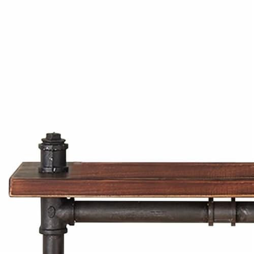 Saltoro Sherpi Pipe Design Metal Body Floating Single Wall Shelf, Gray and Brown Perspective: back