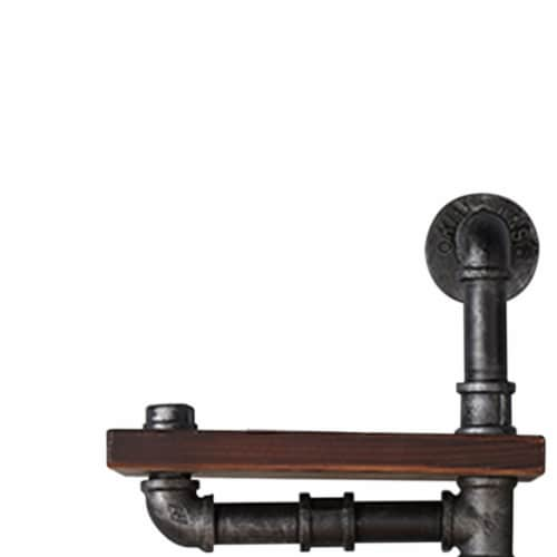 Saltoro Sherpi Metal Body Floating Three Wall Shelves with Pipe Design, Gray and Brown Perspective: back