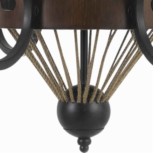 Saltoro Sherpi 6 Bulb Chandelier with Wooden and Scrolled Metal Frame, Brown and Black Perspective: back