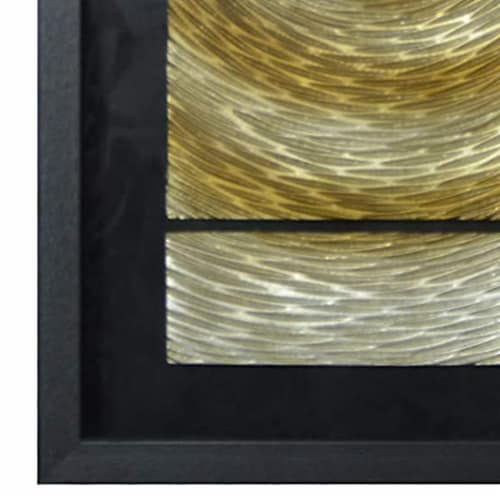Saltoro Sherpi Glass Enclosed Shadow Box with 3 Dimensional Artwork, Black and Gold Perspective: back