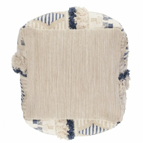 Saltoro Sherpi Fabric Pouf Ottoman with Woven Design and Fringe Details, Cream and Blue Perspective: back