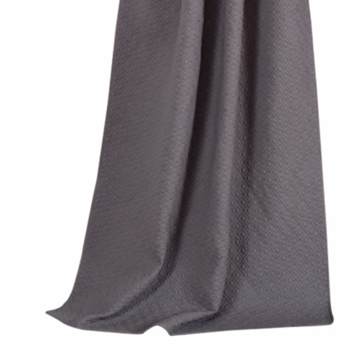 Saltoro Sherpi Bow Polyester Panel Pair with 1 Inch Header and Diamond Stitched Details, Gray Perspective: back